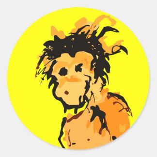 monkey ink classic round sticker