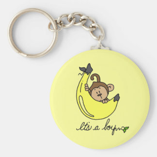 Monkey It's a Boy Tshirts and Gifts Basic Round Button Key Ring
