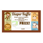 Monkey Jungle Diaper Raffle Tickets 100pk Pack Of Standard Business Cards