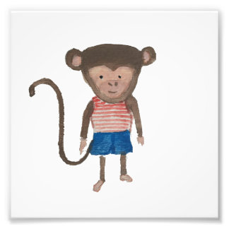 Monkey Jungle Friends Baby Animal Water Color Art Photo