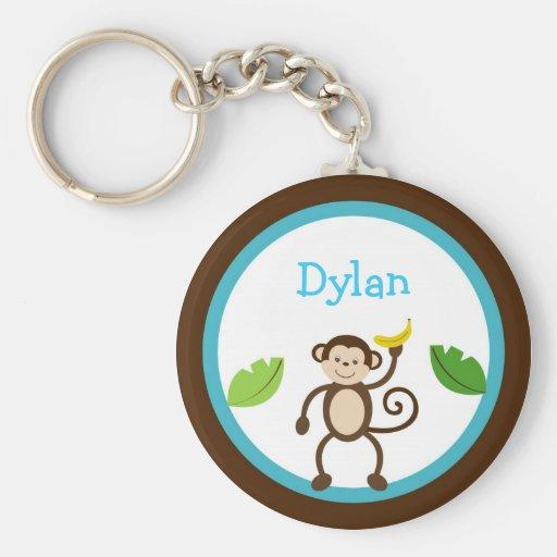 Monkey Jungle Kids Personalized Key Chain