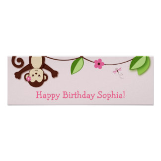 Monkey Jungle Personalised Birthday Banner Poster