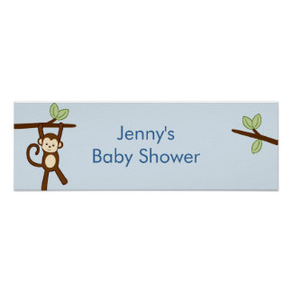 Monkey Jungle Personalized Baby Shower Banner Poster