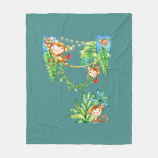 Monkey Kid Fleece Blanket