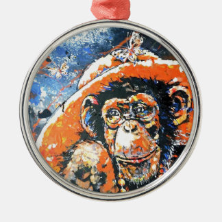 MONKEY LADY Silver-Colored ROUND DECORATION