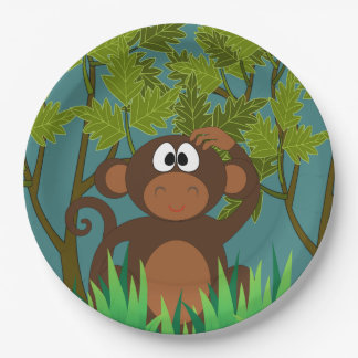 Monkey Lost in the Jungle Paper Plate