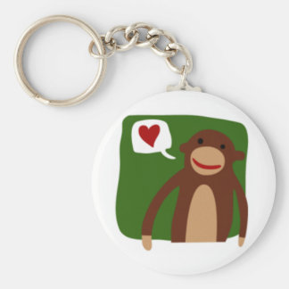 monkey love basic round button key ring
