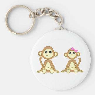 Monkey Love Basic Round Button Key Ring