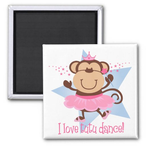 Monkey Love Tutu Dance Refrigerator Magnet