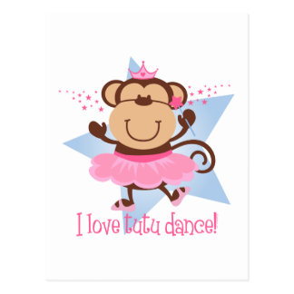 Monkey Love Tutu Dance Post Card
