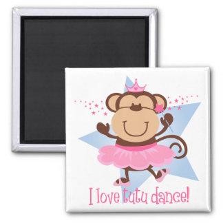 Monkey Love Tutu Dance Square Magnet