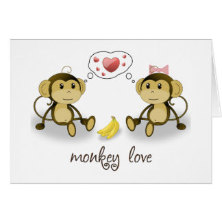 Monkey Love Valentine Greeting Card
