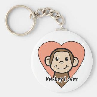 Monkey Lover Basic Round Button Key Ring