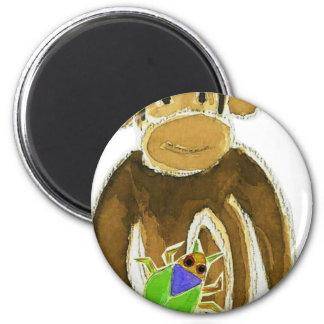 Monkey Loves Bugs 6 Cm Round Magnet