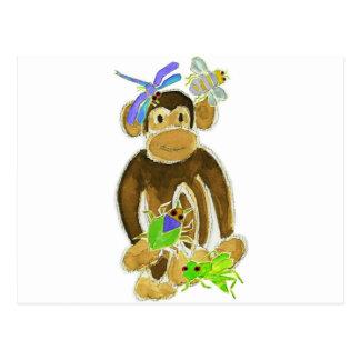 Monkey Loves Bugs Postcard
