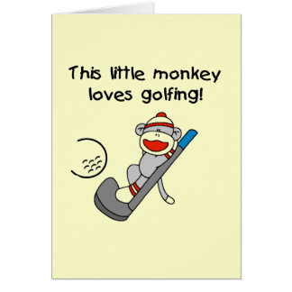 Monkey Loves Golfing T-shirts and Gifts Greeting Card