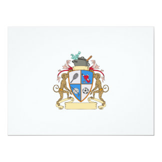 Monkey Money Cook Pot Sports Wine Coat of Arms Dra 17 Cm X 22 Cm Invitation Card