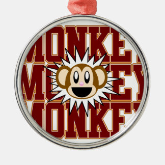Monkey Monkey Silver-Colored Round Decoration
