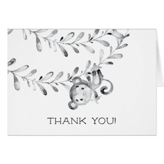 Monkey Neutral Baby Shower Thank You Note Card