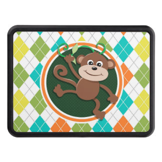 Monkey on Colorful Argyle Pattern Trailer Hitch Cover