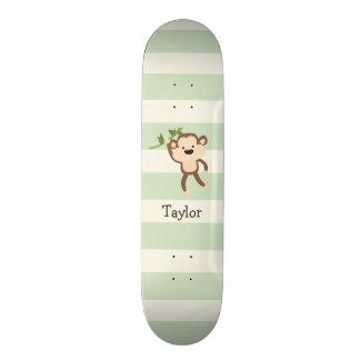 Monkey on Pastel Green Stripes Skateboards
