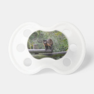 monkey on railing sad primate baby pacifiers