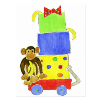 monkey on wagon and gifts postcard