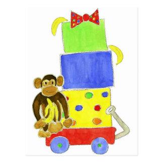 monkey on wagon and gifts postcard