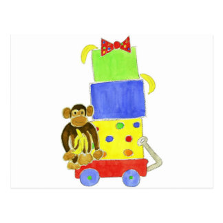 monkey on wagon and gifts post cards
