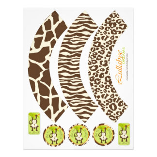 Monkey & Pacifier Animal Print Cupcake Wrappers Flyer