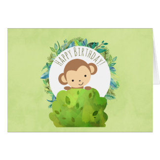Monkey Peeking Out from Behind a Bush Birthday Card