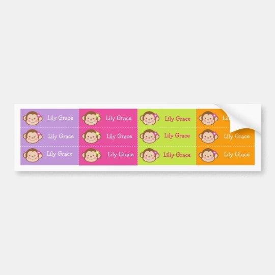 Monkey Personalised Kids name Waterproof Labels