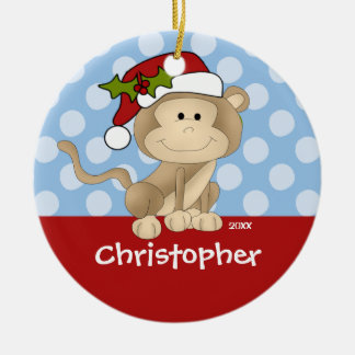 Monkey Personalized Boy Christmas Ornament