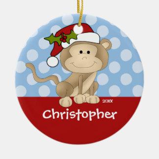 Monkey Personalized Boy Christmas Ornament