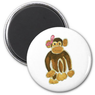 Monkey Pink Bow 6 Cm Round Magnet