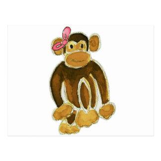 Monkey Pink Bow Postcard