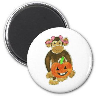 Monkey Pink Bows Pumpkin Fridge Magnets