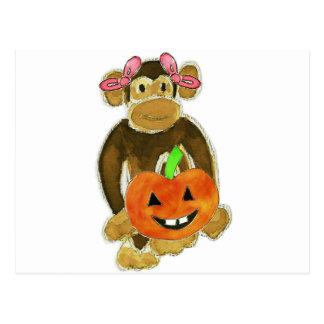 Monkey Pink Bows Pumpkin Postcard