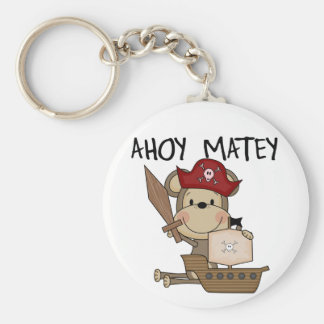 Monkey Pirate Ahoy Matey t-shirts and Gifts Basic Round Button Key Ring