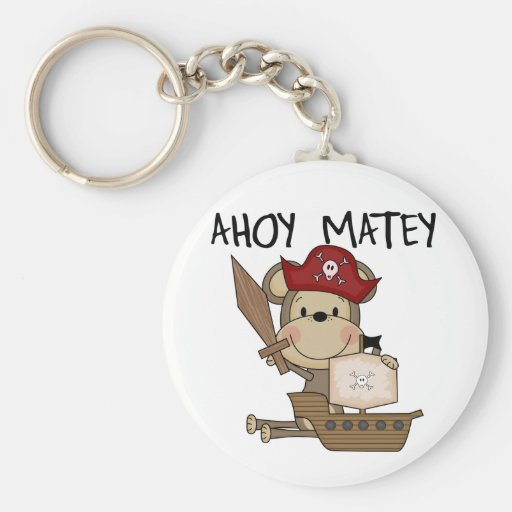 Monkey Pirate Ahoy Matey t-shirts and Gifts Key Chains