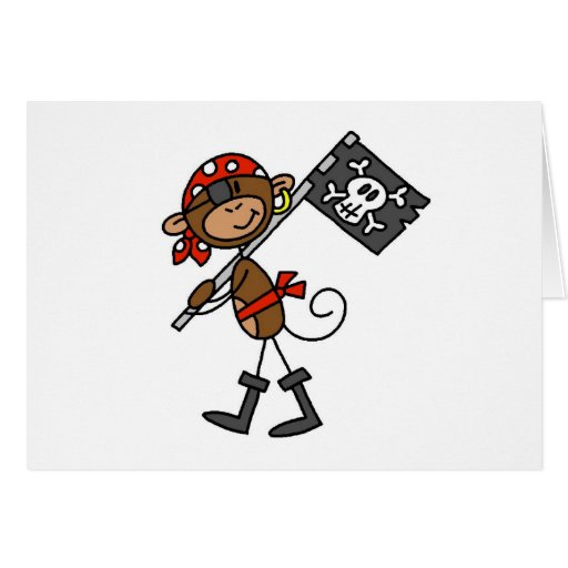 Monkey Pirate With Flag Tshirts and Gifts Greeting Card