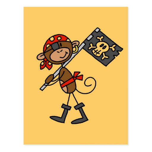 Monkey Pirate With Flag Tshirts and Gifts Post Cards
