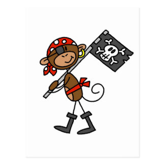Monkey Pirate With Flag Tshirts and Gifts Postcards