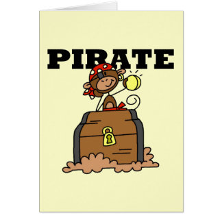 Monkey Pirate With Treasure Tshirts and Gifts Card