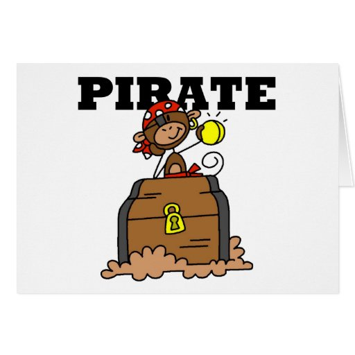 Monkey Pirate With Treasure Tshirts and Gifts Greeting Cards