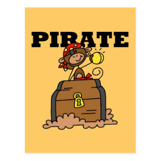 Monkey Pirate With Treasure Tshirts and Gifts Post Card