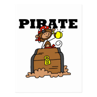 Monkey Pirate With Treasure Tshirts and Gifts Post Cards