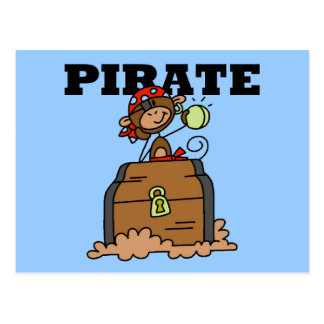 Monkey Pirate With Treasure Tshirts and Gifts Postcards