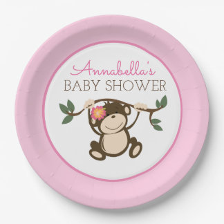 Monkey Play Girl Baby Shower Plate