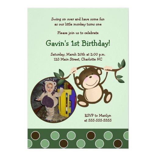 MONKEY PLAY *PHOTO* Birthday invitation 5x7